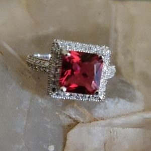 Ruby and White Topaz Sterling Silver Ring